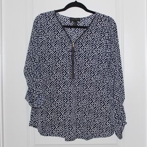 Forever 21+ blue and white blouse